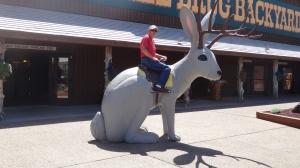 Richard riding the jackalope.