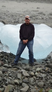 Richard sitting on an iceberg along the Salmon River